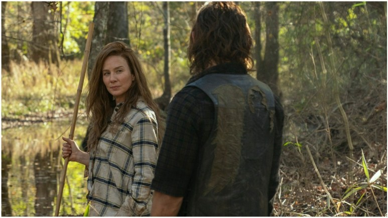 Lynn Collins as Leah and Norman Reedus as Daryl Dixon, as they appeared in Episode 18 of AMC's The Walking Dead Season 10