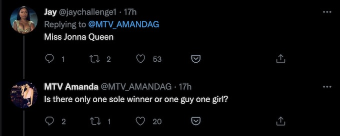 the challenge star amanda garcia replies all stars 2 tweet