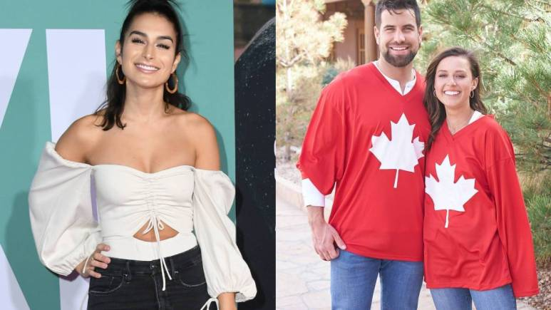 (left) Ashely Iaconetti on the red carpet (right) Blake Moynes and Katieh Thurston wear Canada shirts