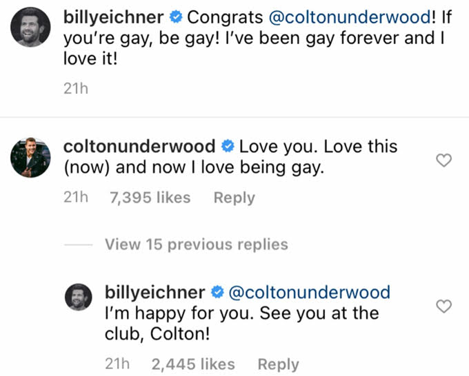 Billy Eichner and Colton Underwood tweets