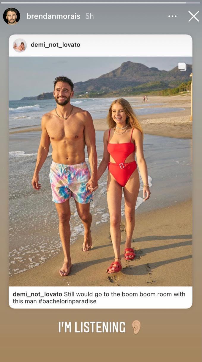 Brendan Morais and Demi Burnett hold hands on the beach