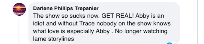 A fan expresses disappointment in Hallmark Channel's Chesapeake Shores.
