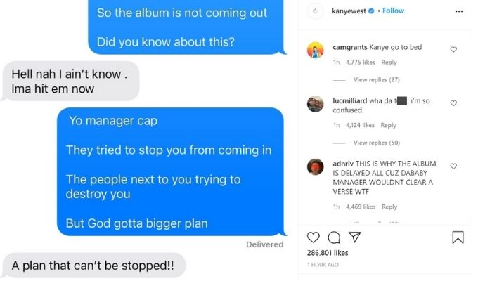Screenshot of Kanye's Instagram post.