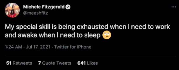 michele fitzgerald tweets about her special skills