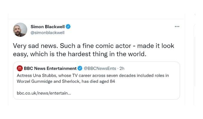 Screenshot of Simon Blackwell's tweet