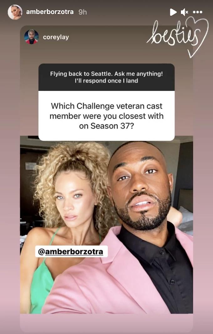 amber borzotra with corey lay ig story post