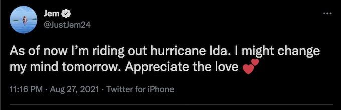 the challenge star jemmye carroll tweets about hurricane ida