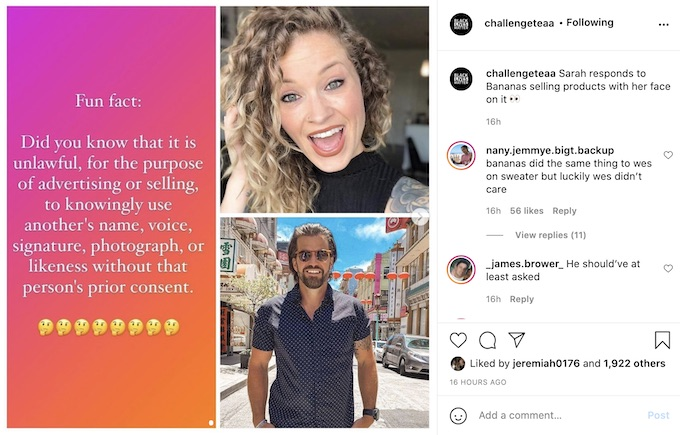 Sarah Rice calls out Johnny Bananas for profiting from their Rivals III moment