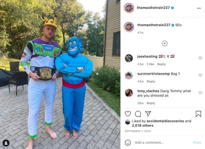tommy sheehan in 90s themed costumes
