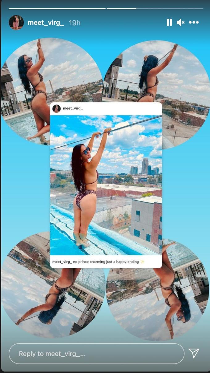 Virginia Coombs poses poolside in a bikini