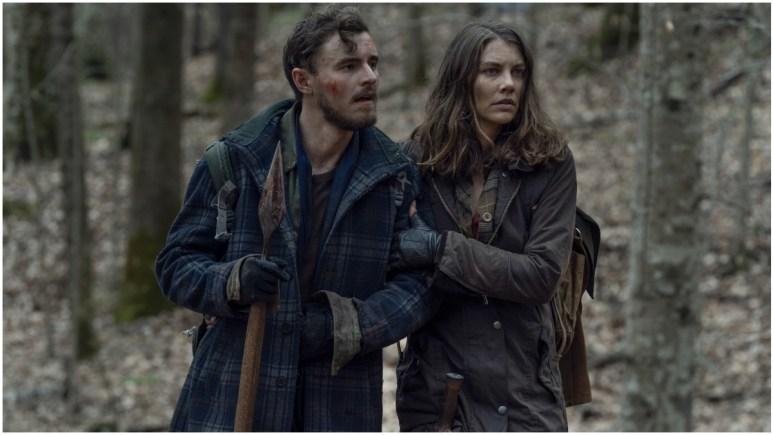 Callan McAuliffe as Alden and Lauren Cohan as Maggie Rhee, as seen in Episode 3 of AMC's The Walking Dead Season 11