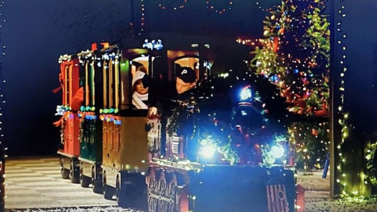 the roloff's christmas train to be used during pumpkin season on the farm for 2021
