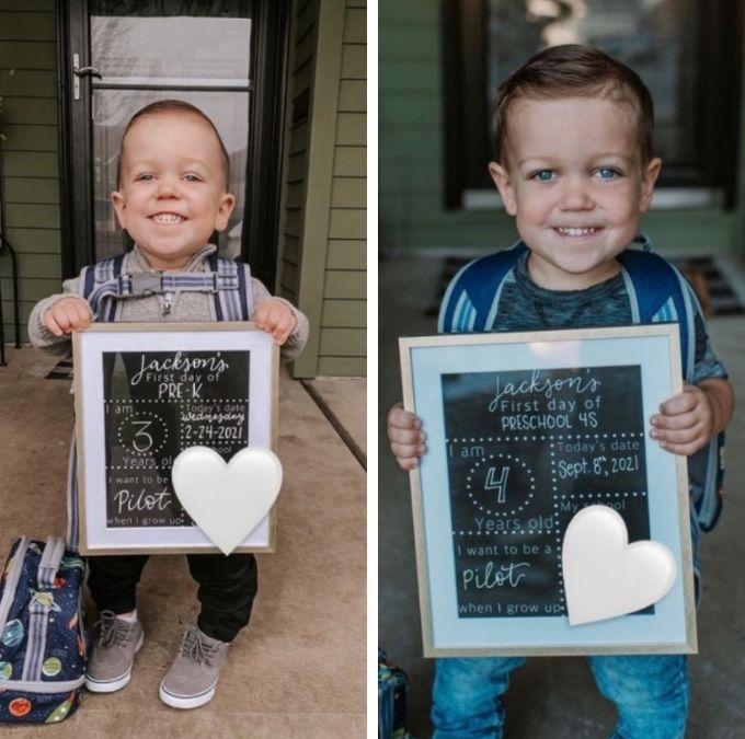 jackson roloff's three-year-old preschool pic versus four-year-old pic on tori's instagram page