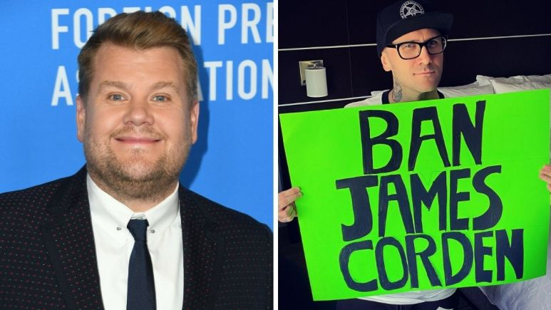 Image of James Corden and image of critic sign