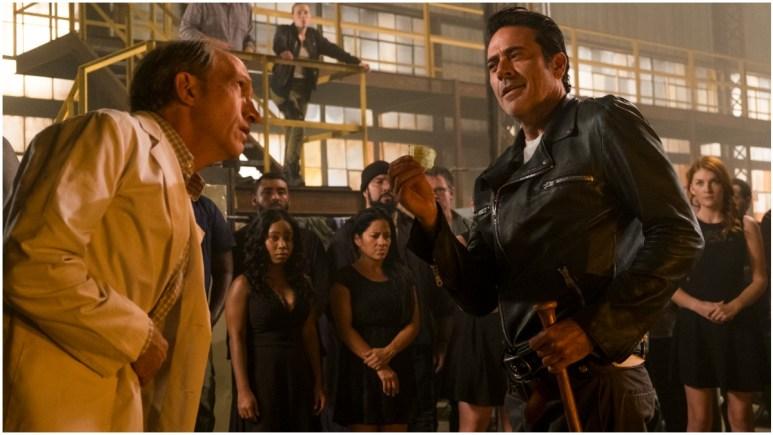 Jeffrey Dean Morgan as Negan and Tim Parati as Dr. Emmit Carson, as seen in Episode 11 of AMC's The Walking Dead Season 7