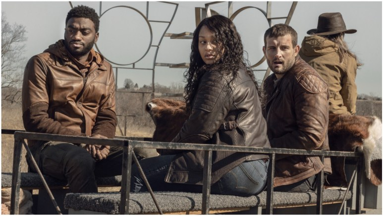 Jelani Alladin as Will, Aliyah Royale as Iris, Nico Tortorella as Felix, as seen in Episode 1 of AMC's The Walking Dead: World Beyond Season 2
