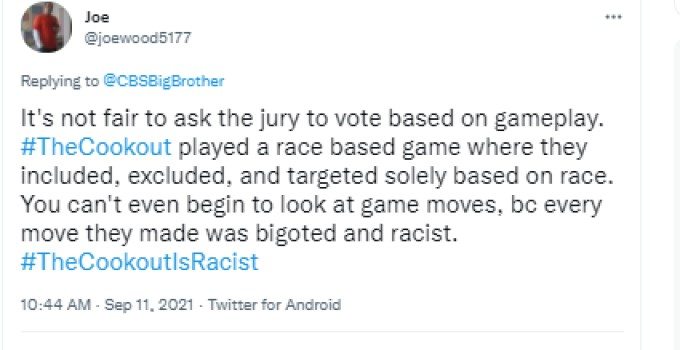 Joe Wood BB23 Racist