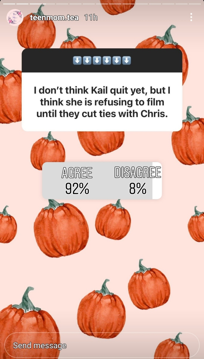 teen mom tea on instagram took a poll about kail lowry filming for teen mom 2 without chris lopez