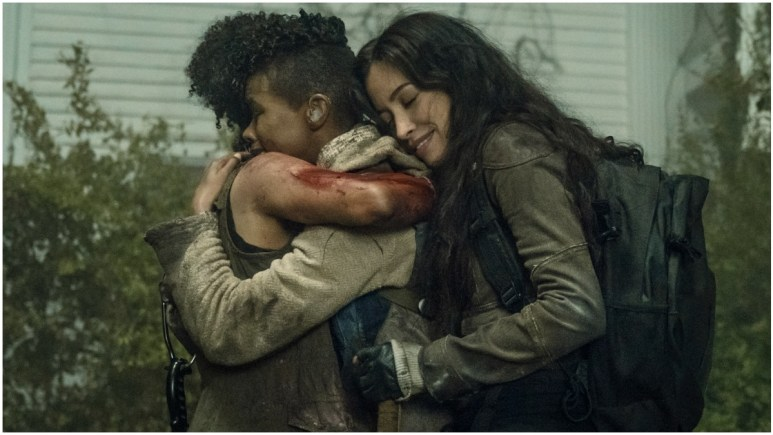 Lauren Ridloff as Connie, Angel Theory as Kelly, and Christian Serratos as Rosita, as seen in Episode 6 of AMC's The Walking Dead Season 11