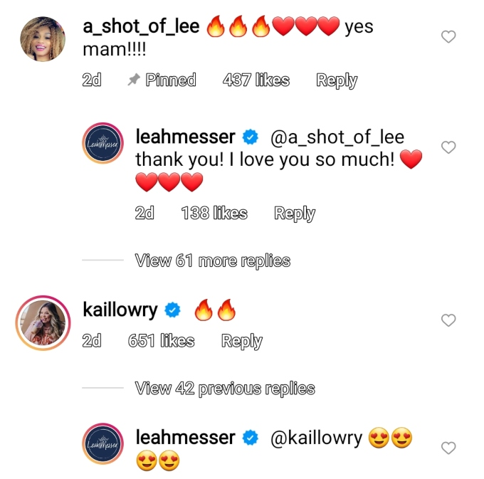 jaylan mobley and kail lowry commented on leah messer's post on instagram
