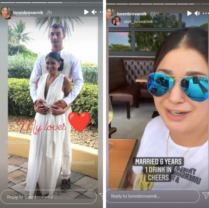 loren brovarnik celebrated her sixth wedding anniversary on instagram