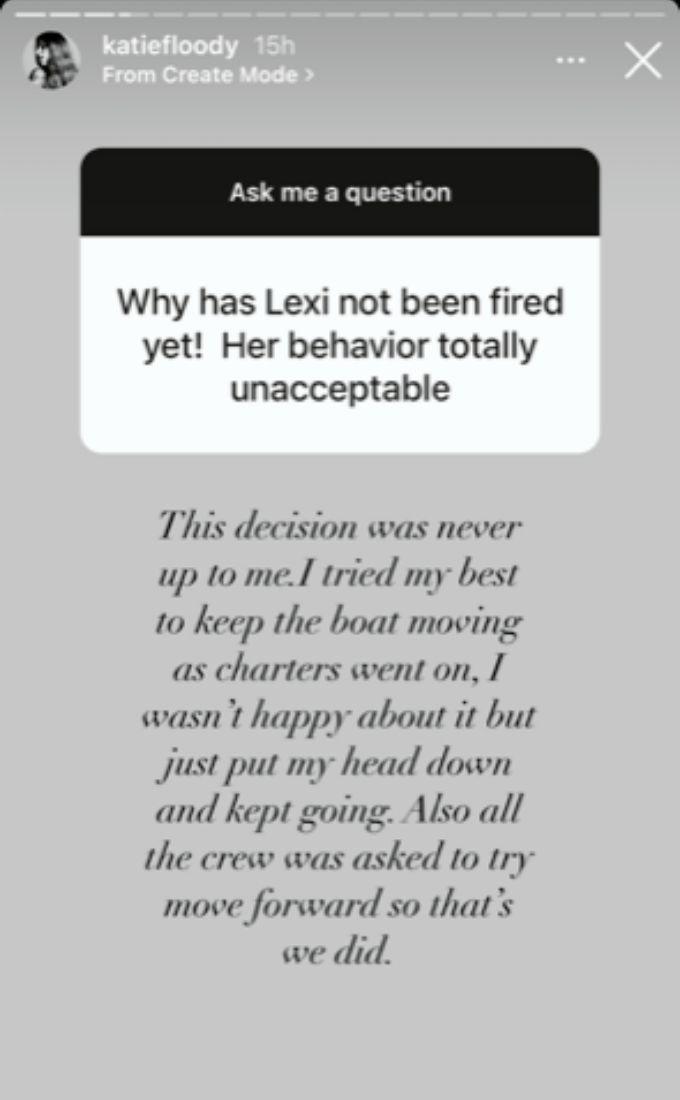 Katie talks not firing Captain Sandy.