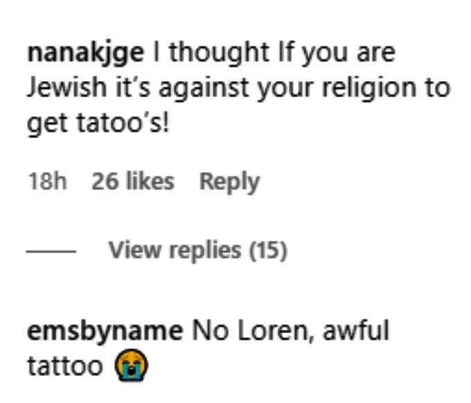loren brovarnik caught flak from followers on instagram for her new tattoo
