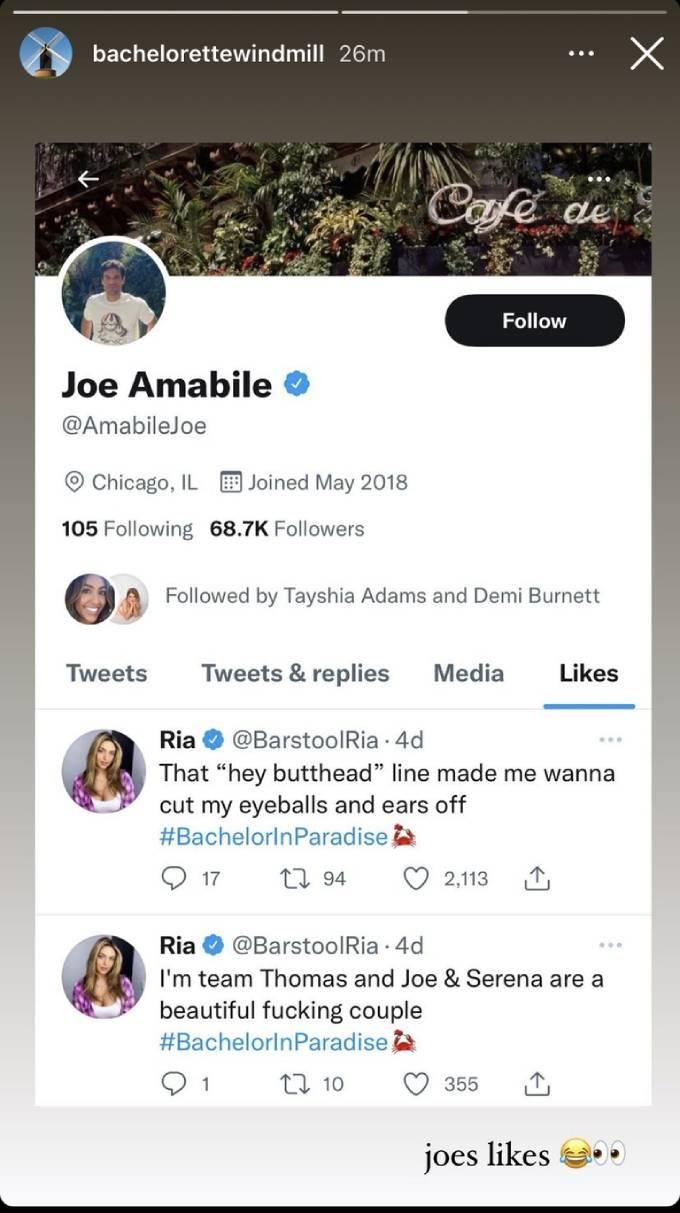 Joe's Twitter likes