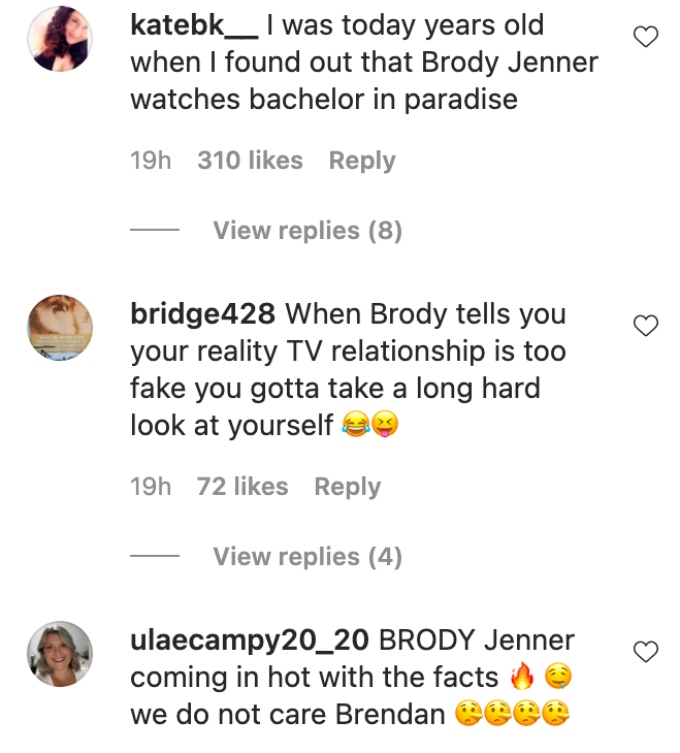Instagram comments on Brody Jenner's video