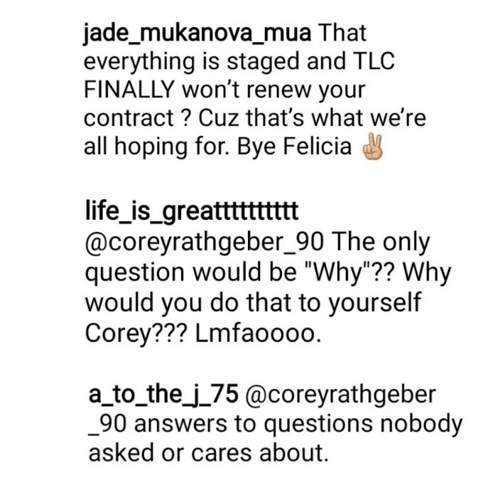 corey rathgeber's critics came for him on instagram