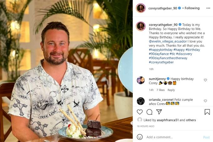 corey rathgeber announced his birthday on instagram