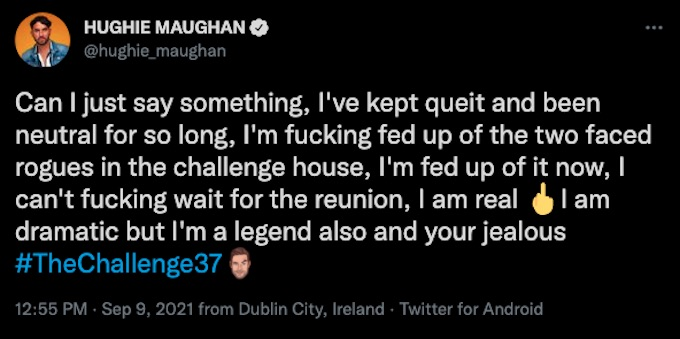 the challenge rookie hughie maughan tweets about spies lies and allies