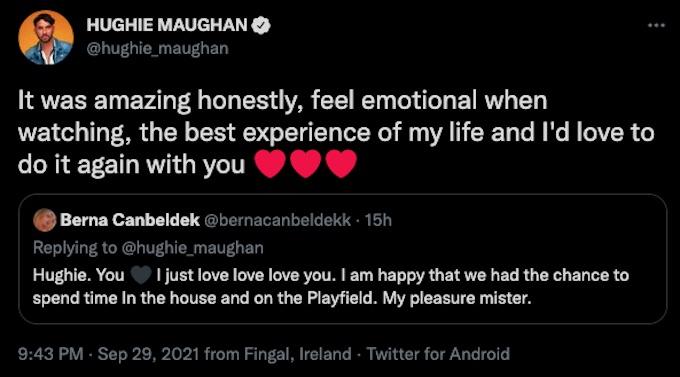 hughie maughan tweets to berna after season 37 elimination