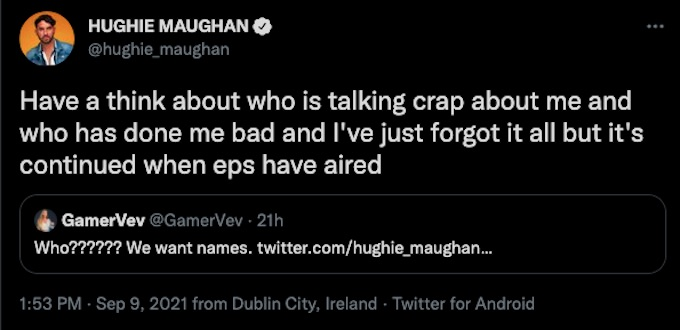 the challenge season 37 hughie maughan tweets about castmates