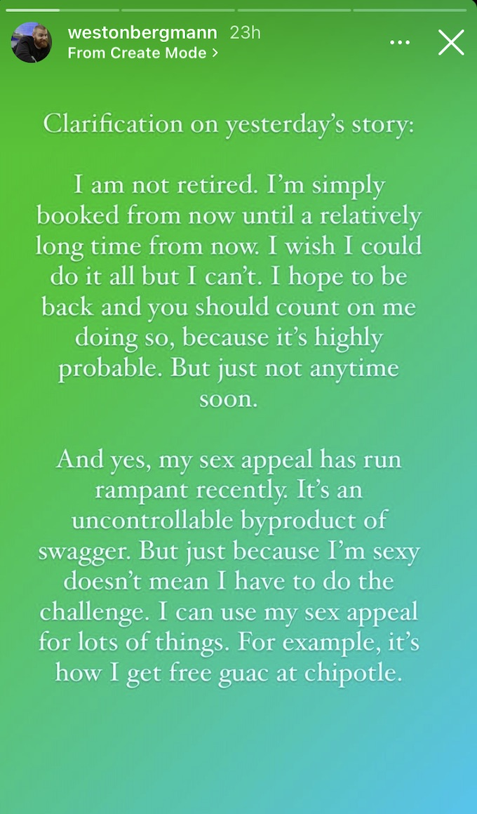 wes bergmann of the challenge clarifies retirement rumors