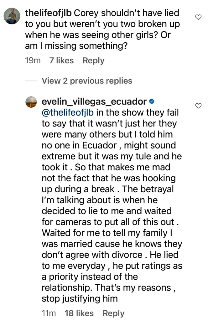 Evelin Villegas says Corey Rathgeber hooked up with many others