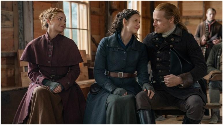Sophie Skelton as Brianna MacKenzie, Caitriona Balfe as Claire Fraser, and Sam Heaughan as Jamie Fraser, as seen in Season 6 of Starz's Outlander