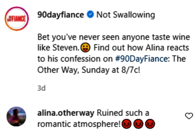 """alina commented on instagram that steven """"ruined such a romantic atmosphere"""" during their date"""