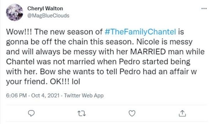 Tweet about The Family Chantel