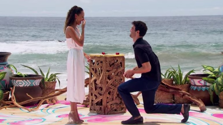 Joe Amabile and Serena Pitt during the proposal on Bachelor in Paradise