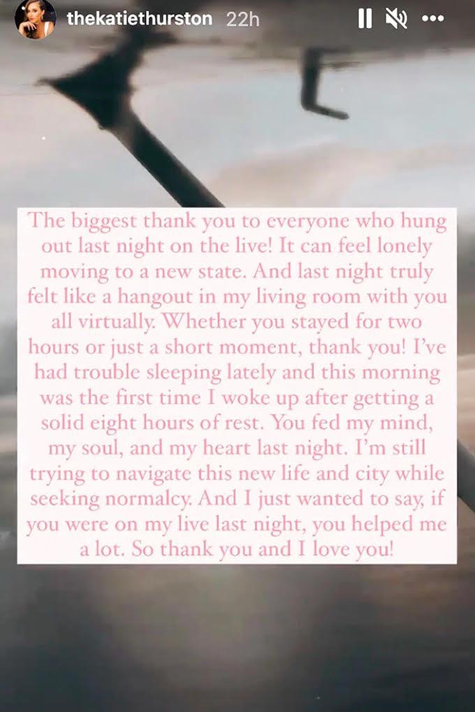 Katie Thurston IG story