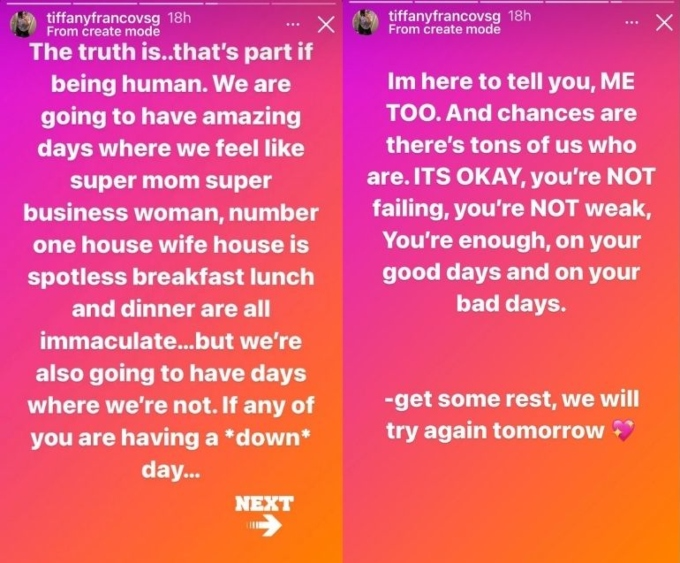 Tiffany Franco opens up about having a breakdown