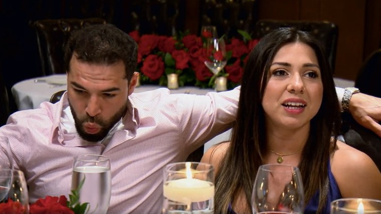 MAFS Rachel and Jose cozy up at dinner
