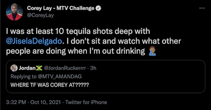 corey lay of the challenge tweets about fessy situation