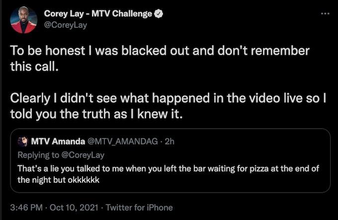 corey lay of the challenge responds to amanda garcia tweet