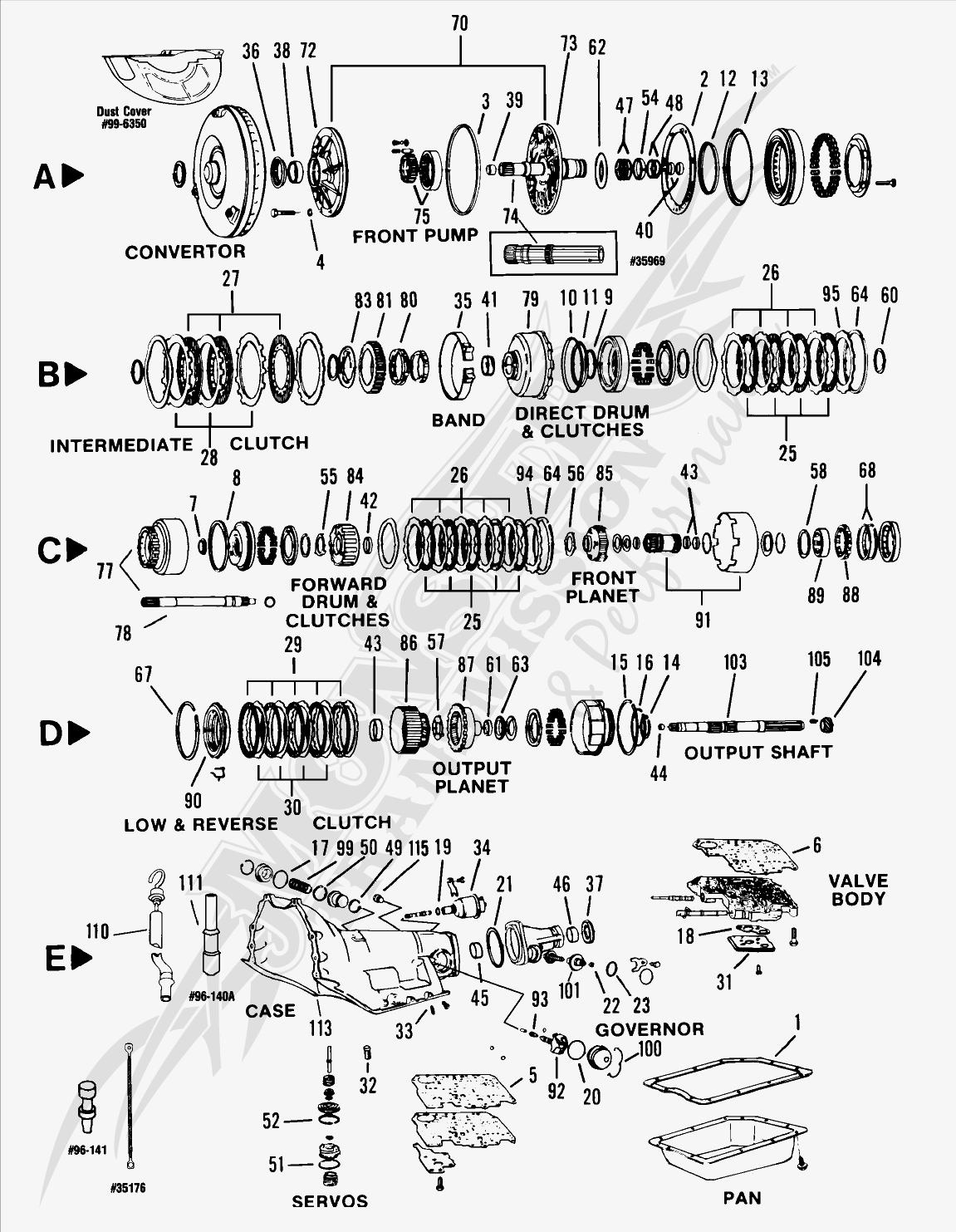 Turbo 350c th350c automatic transmission parts and diagram rh monstertransmission