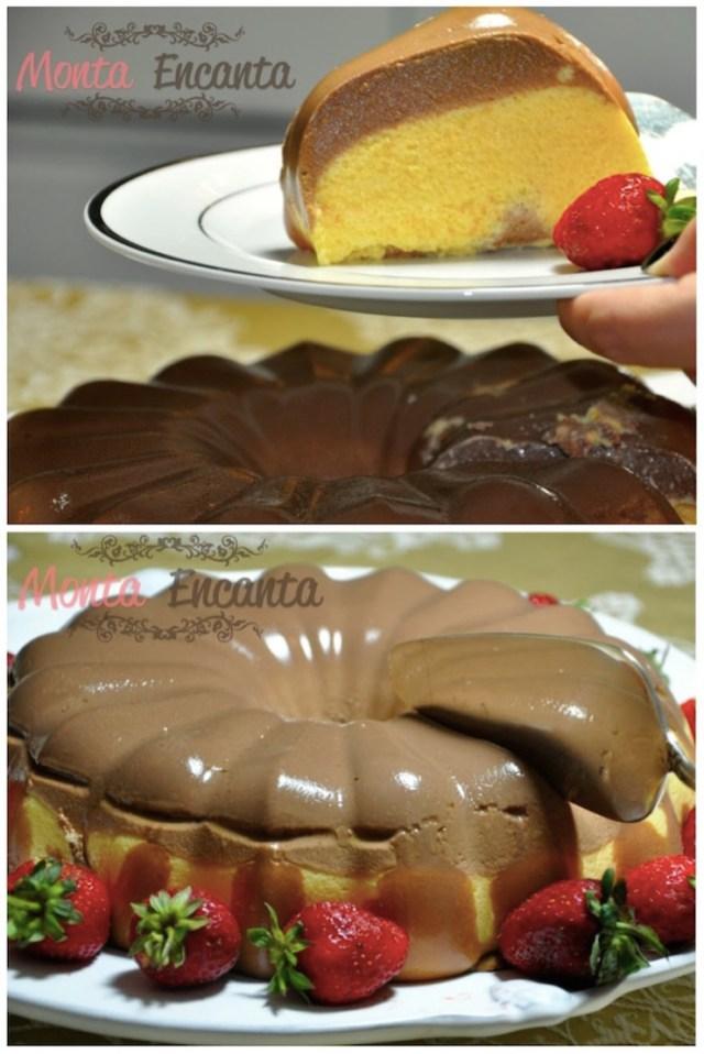Pudim bicolor de chocolate e maracujá