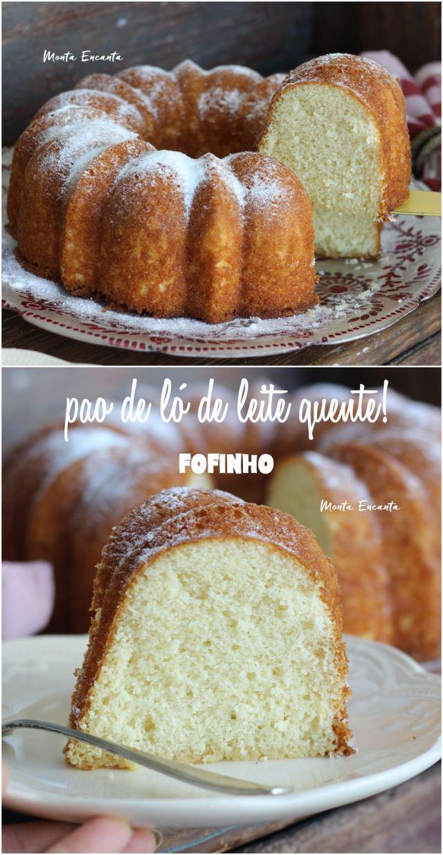 pão de ló de leite quente, bolo simples, leve e fofo