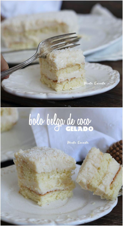 bolo belga de coco, gelado e recheado