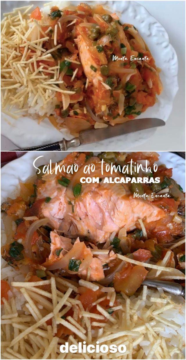 salmão cozido com tomate